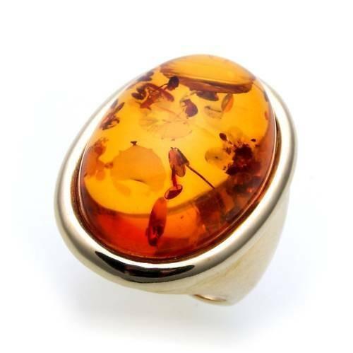 Damen Ring echter Bernstein aus de Ostsee echt Gold 585 Gelbgold Qualität 8530/5