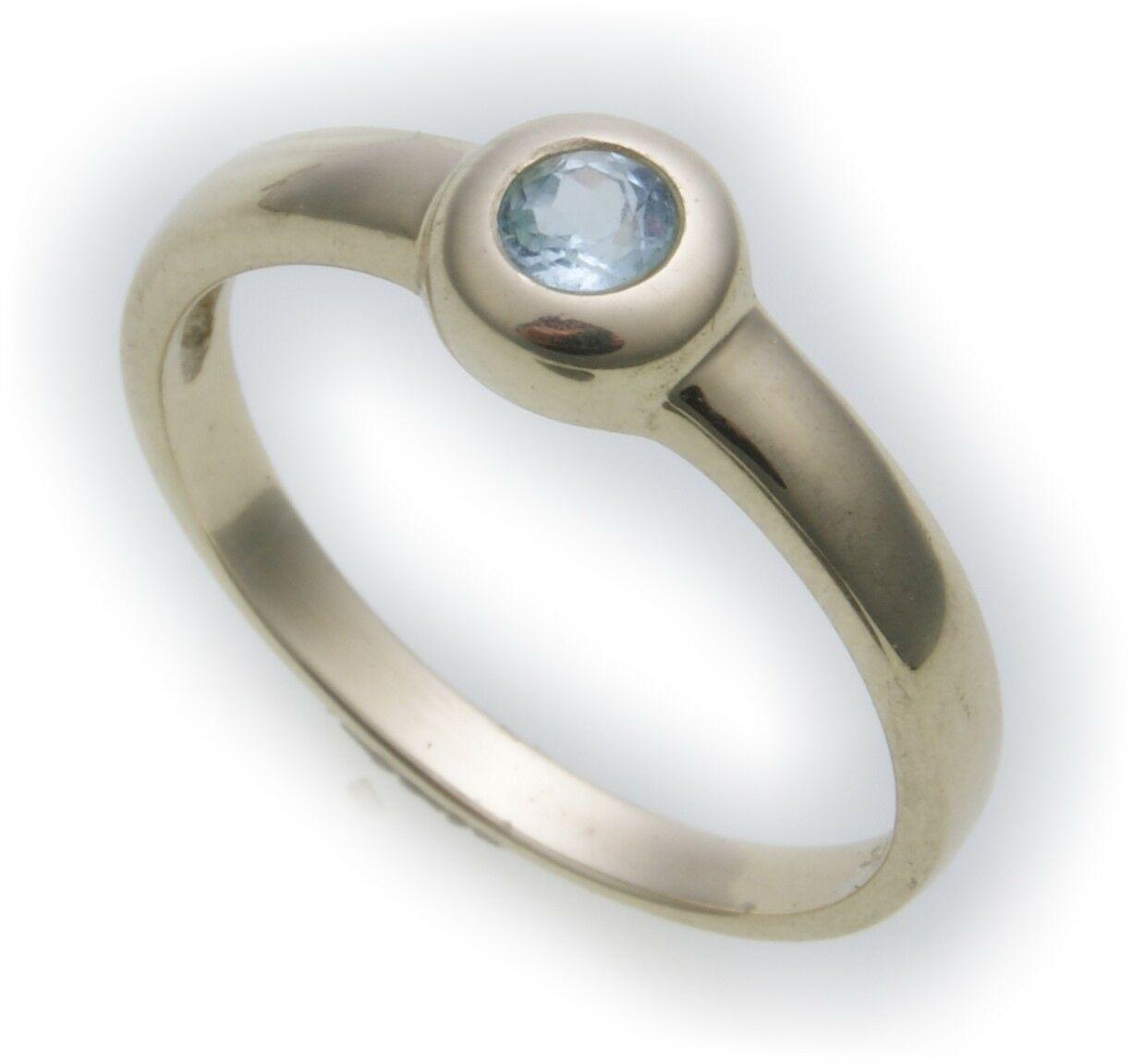 Damen Ring echt Gold 585 Topas 14 Juwelierqualität Gelbgold Einsteiner Blautopas