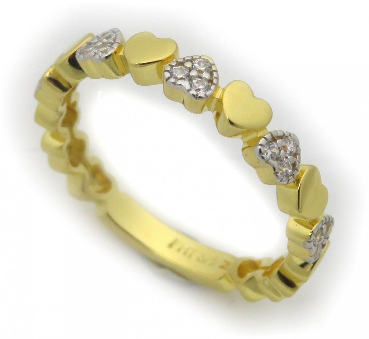 Damen Ring Herz echt Gold 375 9 kt Zirkonia Gelbgold Herzen ausgefasst Qualität
