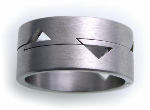 Damenring Ring in Edelstahl mattiert beweglich eingeh. D1029