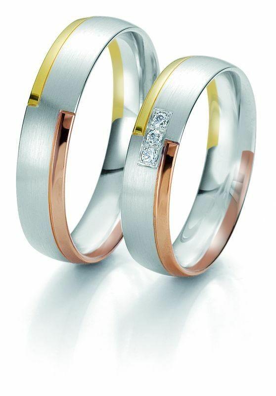 Trauringe Breuning Rainbow Collection 6209/6210 in 585 Gold weiß rot gelb 14 kt