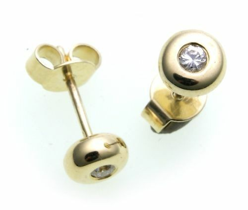 Damen Ohrringe Ohrstecker echt Gold 585 Brillant 0,12 ct 14 kt Gelbgold Diamant