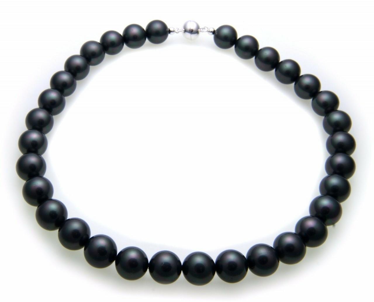 Neu Collier Muschelkernperlen grau 12,5 mm Perlenkette Halskette Perlen anthraz