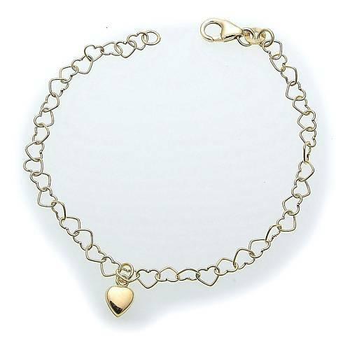 Armband Kinder 15 cm 333 Gold Herzkette mit Herz Qualität