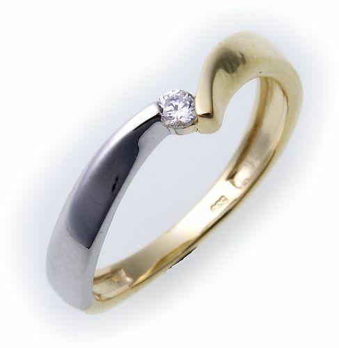 Damen Ring Gold 333 Zirkonia teilrhodiniert Gelbgold Qualität 8kt Gelbgold