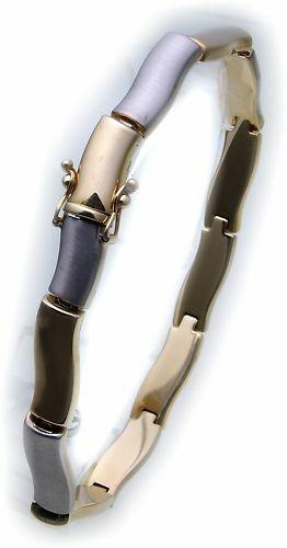 exklusives Armband Gold 585 Bicolor teilmatt 14kt Damen Gelbgold
