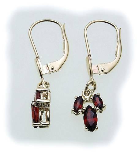 Damen Ohrringe m. Granat in Silber 925 Granatohrringe Sterlingsilber Hänger 6992