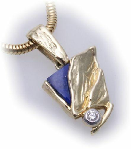 Damen Anhänger Lapis mit Brillant 0,02ct echt Gold 585 Gelbgold Diamant