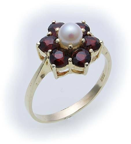 Damen Ring m. Granat u. Perlen in Gold 333 Gelbgold Granatring 8996/3GR.ZP