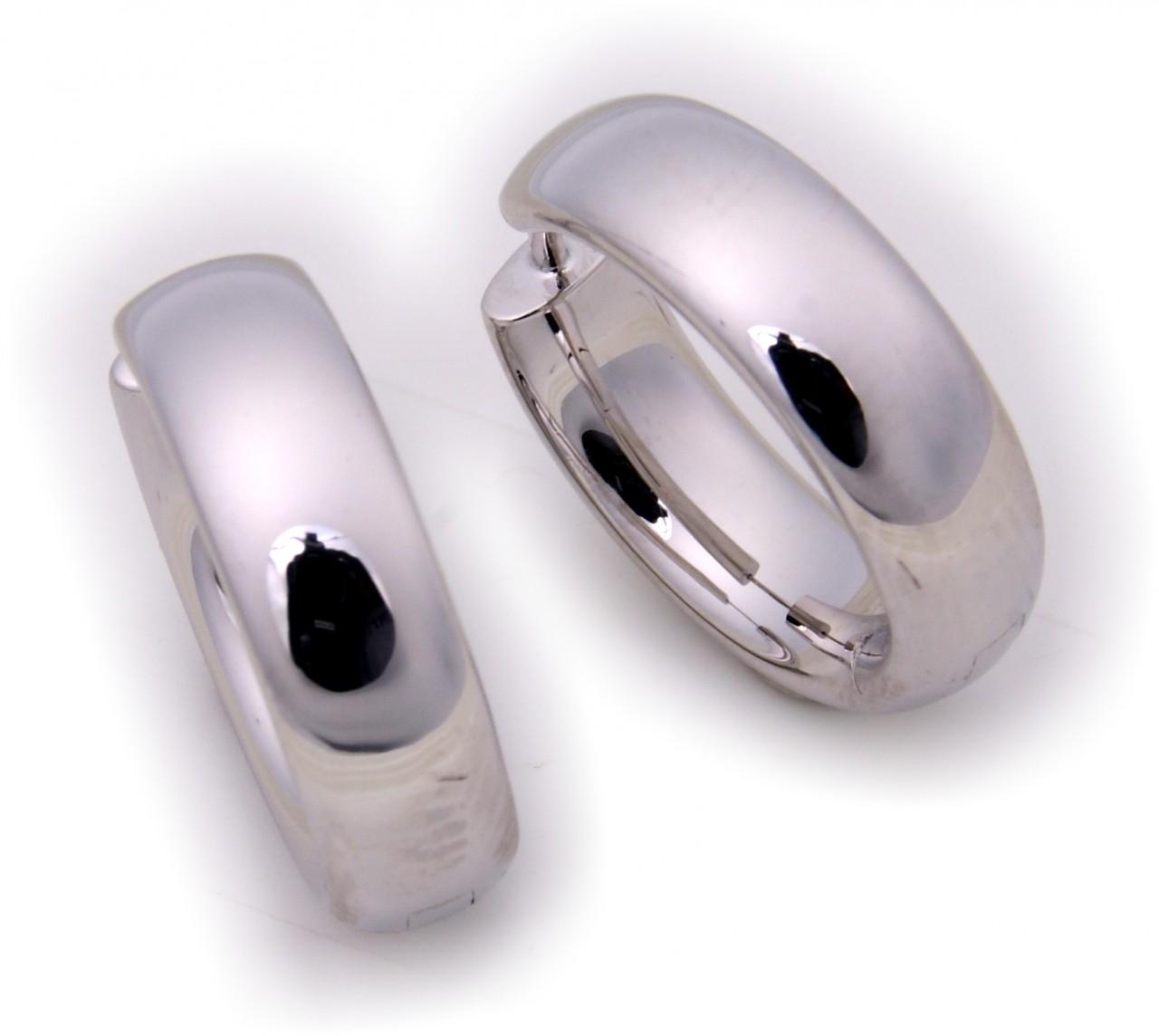 Ohrringe Klapp-Creolen halbrund konkav echt Silber 925 20 mm Sterlingsilber