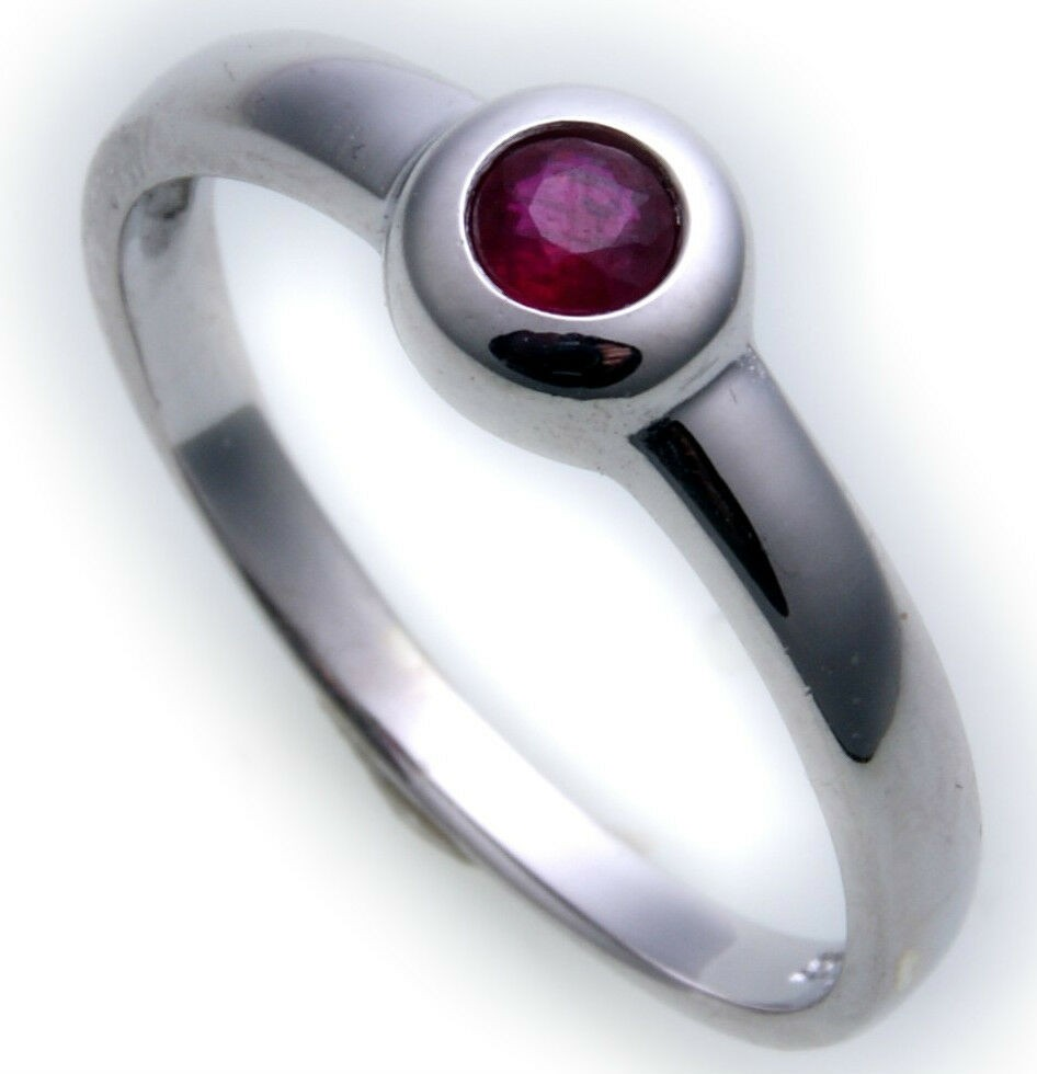 Damen Ring echt Weißgold 585 Rubin 14kt Juwelierqualität Weiß Gold Einsteiner