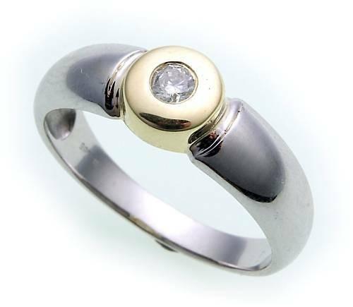 Damen Ring Brillant 0,10carat Bicolor echt Weißgold 585 Gold 585er- SI Diamant