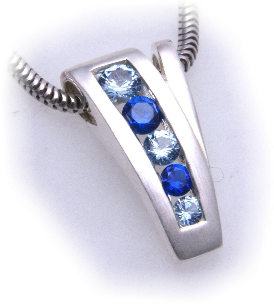 Anhänger echt Silber 925 mit Spinell blau mattiert Sterlingsilber