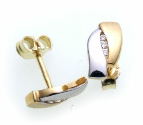 Damen Ohrringe Ohrstecker echt Gold 333 Zirkonia rhod. Stecker Gelbgold Z2868 ZI
