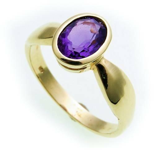 Damen Ring echt Amethyst 8 x 6 echt Gold 585 Zarge Gelbgold Edlestein