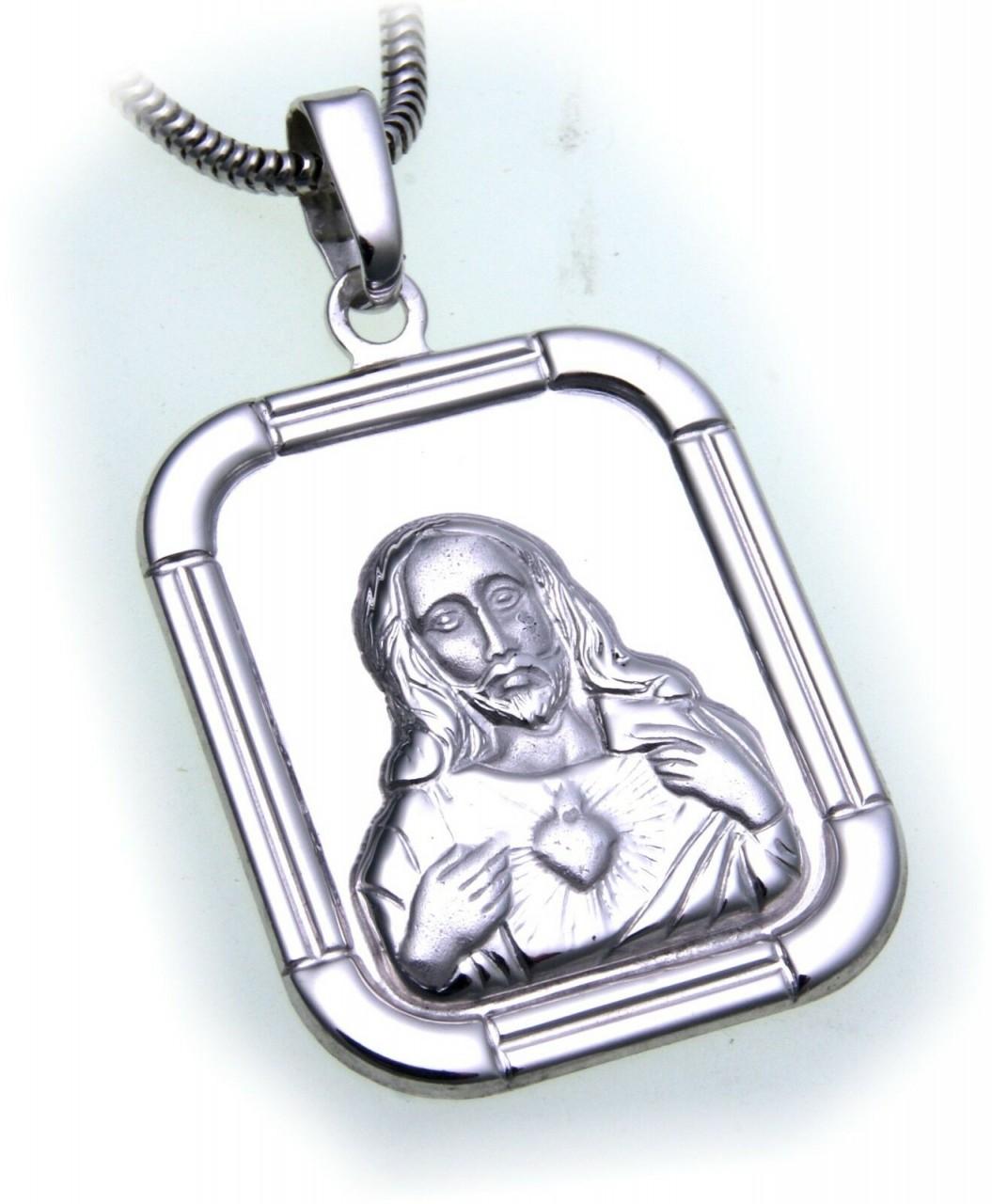 Anhänger Jesus Christus echt Silber 925 Gebet mit Herz Sterlingsilber Unisex
