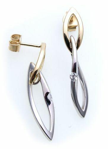 Ohrringe Hänger echt Gold 375 Zirkonia Ohrhänger Gelbgold Qualität Damen