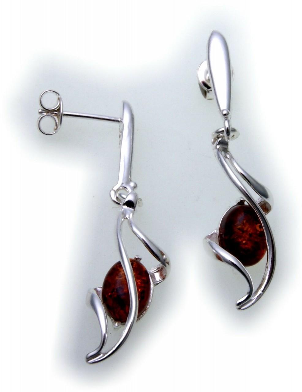 Ohrringe Hänger Bernstein 41 mm echt Silber 925 Sterlingsilber Unisex Qualität