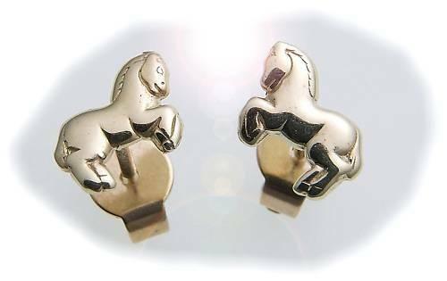 Kinder Ohrringe Ohrstecker Pferd massiv 333 Gold Gelbgold Qualität