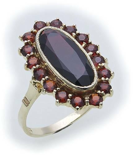 Damen Ring m. Granat in Gold 585 Gelbgold Granatring alle Weiten Neu Top 14 kara