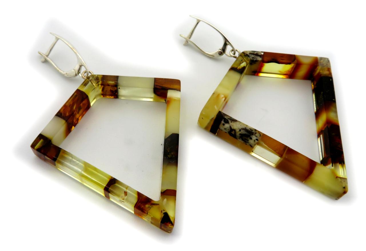 Damen Ohrringe Hänger echt Natur Bernstein Dreieck farbig Sterlingsilber 925 Neu