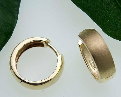Damen Ohrringe Klapp Creolen mattiert Glanz gewölbt Gold 585 Gelbgold