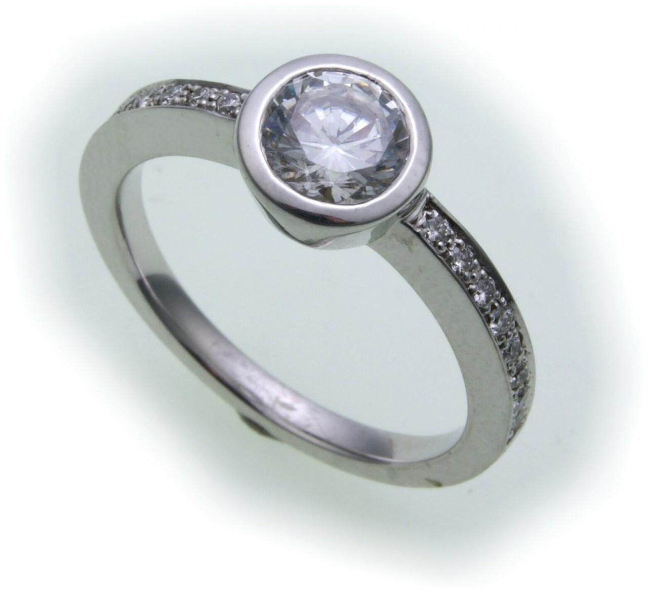 Damen Ring Brillant 1,16 c Diamant si echt Weißgold 750 18kt 1,0 ct Solitär Gold