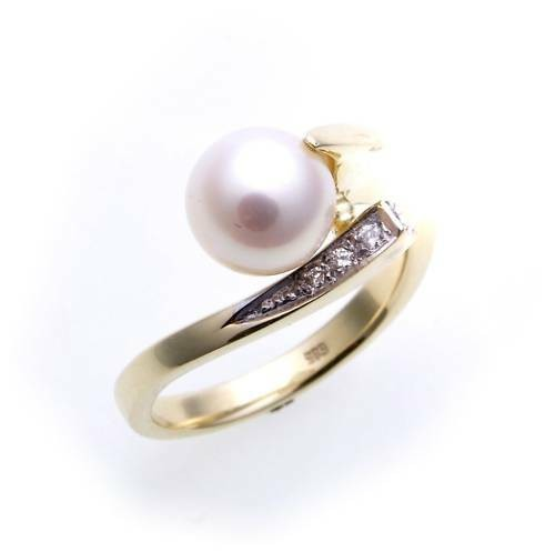 Damen Ring echt Gold 585 Perle 7,5 mm Brillant 0,02ct. Gelbgold Perlen Diamant