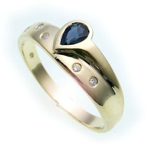 Damen Ring Safir Saphir echt Gold 585 14 karat Brillant 0,05ct Gelbgold Diamant