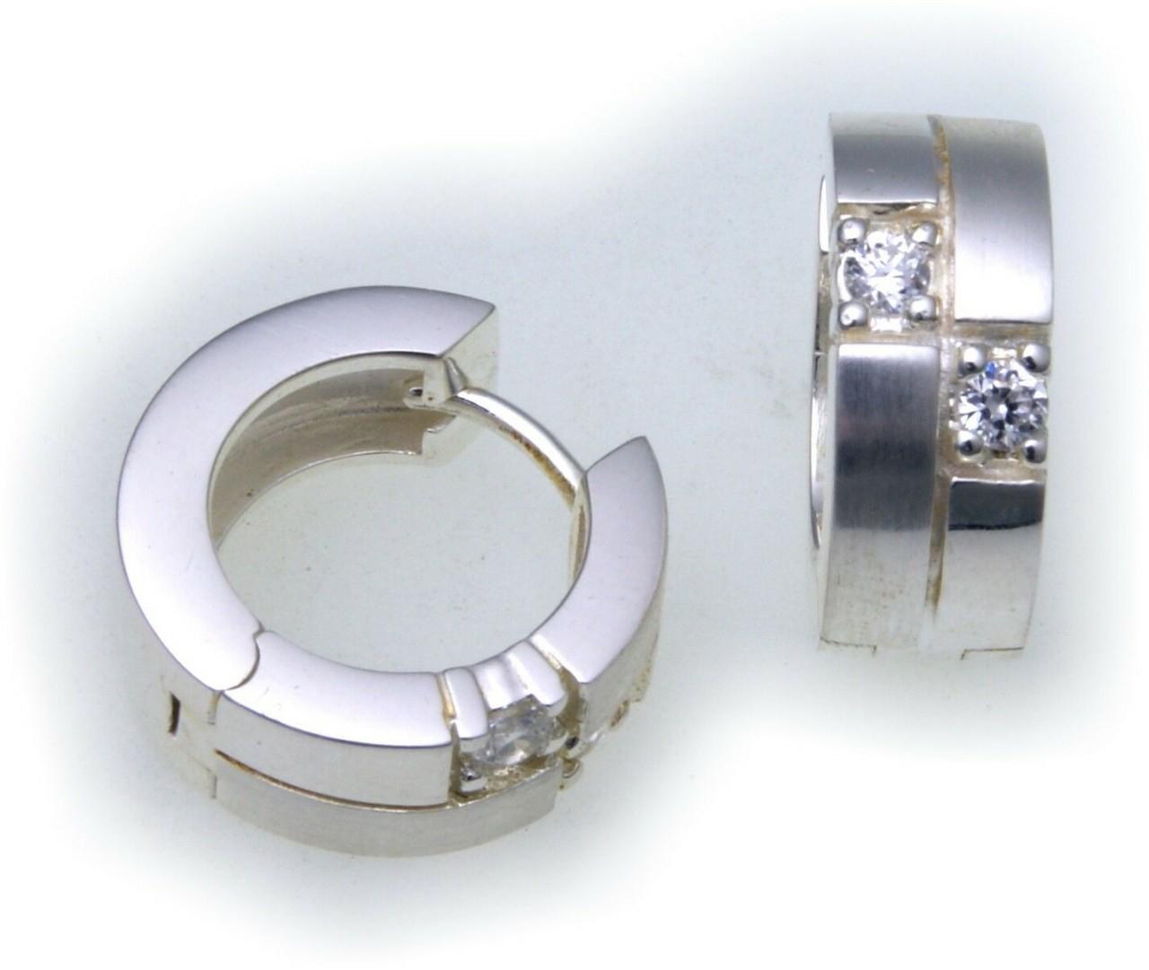 edle Ohrringe Klapp Creolen Zirkonia echt Silber 925 Sterlingsilber Qualität
