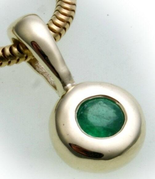 Anhänger Smaragd echt Gold 585 Damen 14kt Gelbgold Top Preis Grün Qualität