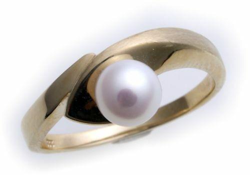 Damen Ring echt Gold 333 Perle 6,5 mm teilmatt Gelbgold 8kt Zuchtperle