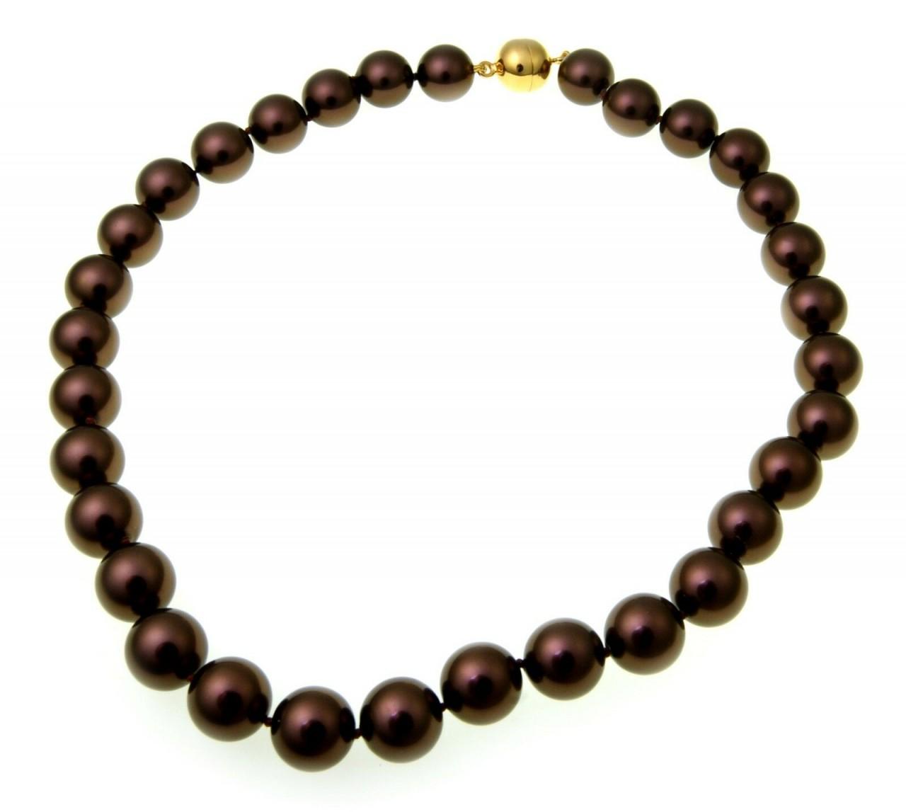 Damen Halskette Muschelkernperlen schoko 12 mm Silber 925 Perlen Sterlingsilber