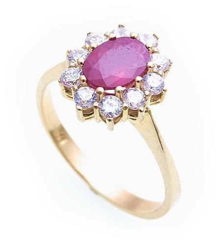 Damen Ring echt Rubin 7 x 5 echt Gold 333 mit Zirkonia Gelbgold