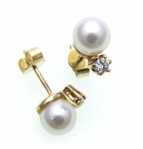 Damen Ohrringe Ohrstecker Gold 585 Gelbgold Brillant 0,16ct Perlen 7mm Diamant