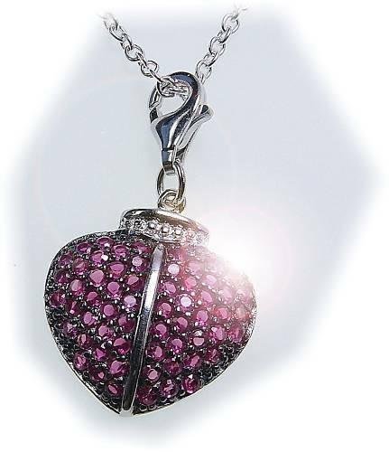 Charm Anhänger Herz Zirkonia rot Silber 925 Einhänger Sterlingsilber