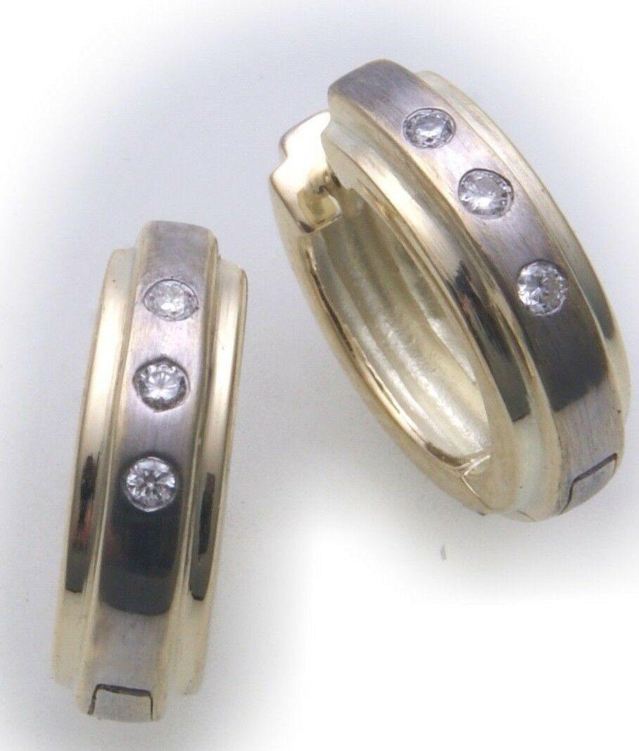 Damen Ohrringe Klapp Creolen Bicolor Gold 750 Brillant 0.09ct Gelbgold Diamant