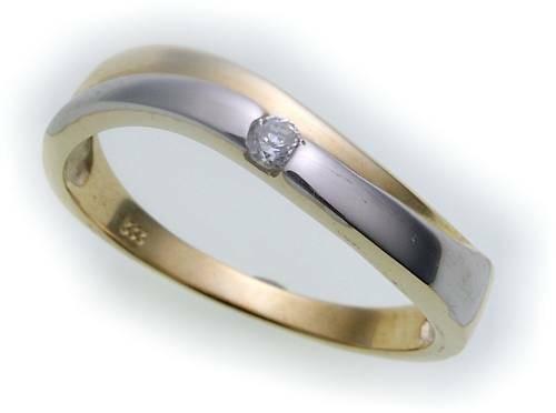 Damen Ring Bicolor echt Gold 333 Zirkonia poliert Gelbgold Qualität Z1659 ZI