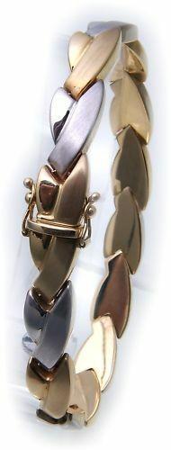 exklusives Armband echt Gold 585 Bicolor teilmatt 14kt Damen Gelbgold