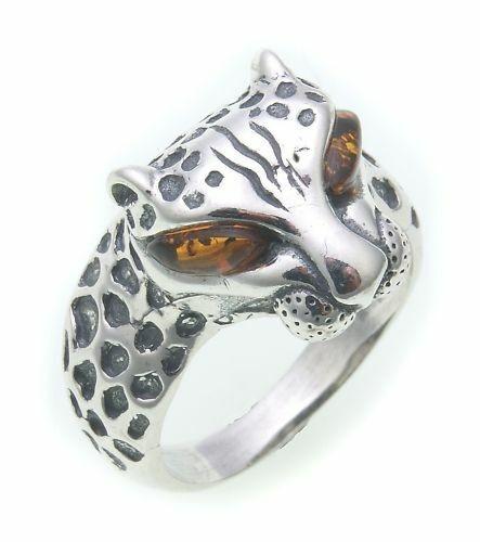 Damen Ring echt Bernstein Leopard echt Silber 925 Sterlingsilber
