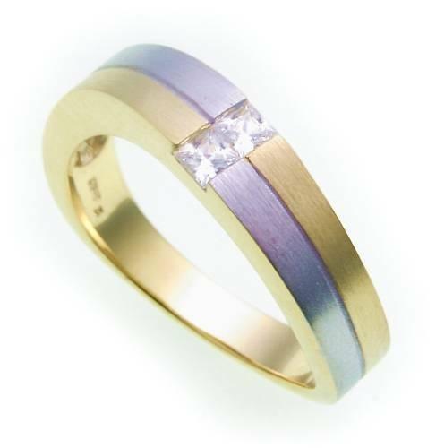Damen Ring echt Gold 585 Bicolor Zirkonia mattiert Gelbgold Qualität