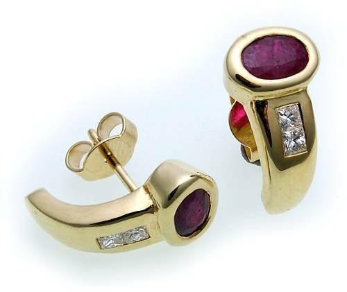 Damen Ohrringe Ohrstecker Gold 585 Brillant 0,20 ct Rubin 14kt Stecker Gelbgold