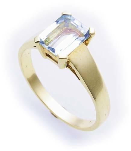 Damen Ring echt Aquamarin 8 x 6 Rechteck Gold 585 Gelbgold