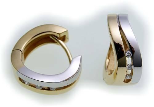 Damen Ohrringe Klapp Creolen bicolor Gold 585 Brillant 0.08ct Gelbgold BR2692 BR