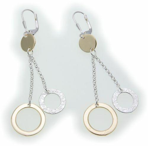 Ohrringe Hänger echt Silber 925 teilvergoldet Sterlingsilber Unisex