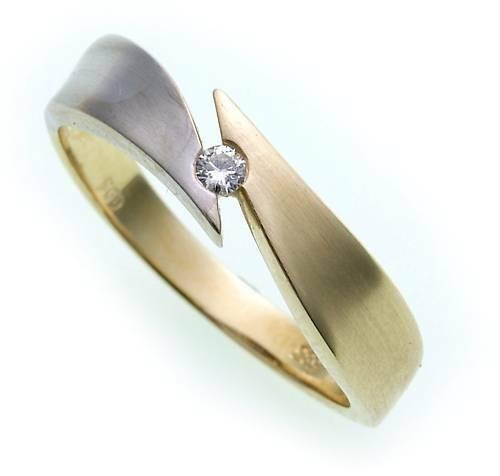 Damen Ring Brillant 0,05ct echt Gold 585 Bicolor Gelbgold Qualität SI