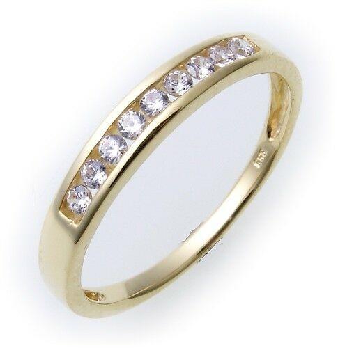 Damen Ring echt Gold 333 Zirkonia 8 karat Gelbgold Qualität Neu Damenring Top 8k