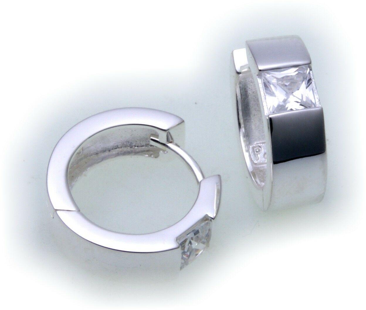 edle Ohrringe Klapp Creolen Zirkonia echt Silber 925 Silber