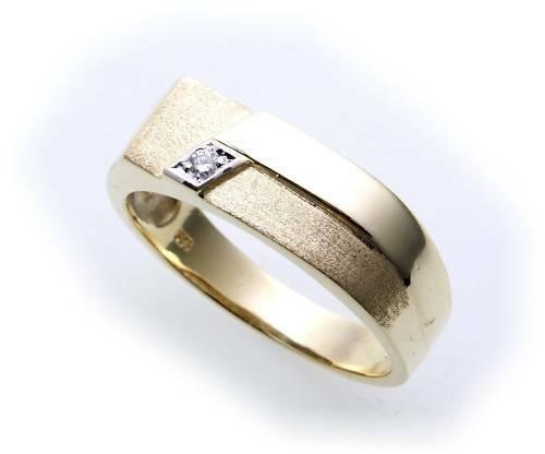 Herren Ring echt Gold 333 Brillant 0,02ct teilmattiert Gelbgold Diamant