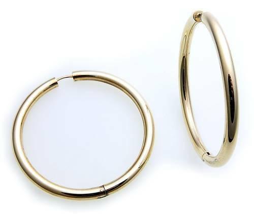 Damen Ohrringe Klapp Creolen Gold 333 Glanz 50 mm Rohrform Gelbgold